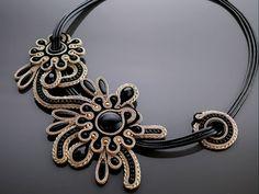 Light gold black necklace soutache with Onyx.