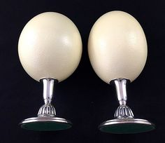 Ostrich Egg Decorations Mounted on Silver Plate Stands – Vintage Pair