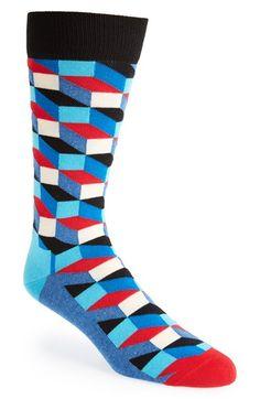 Men's Socks: Happy Socks 'Filled Optic' Crew Socks available at Nordstrom