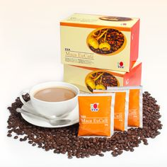 Maca EuCafé: Product is adjusted to the requirements of the European market. This unique blend contains instant coffepowder, vegetable cream, sugar cane and herb Maca (Lepidium meyenii). http://www.ganoderma-coffee.info/products