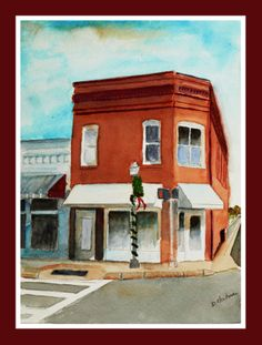 "8"" x 10"" Watercolor  Christmas Corner in Milton"