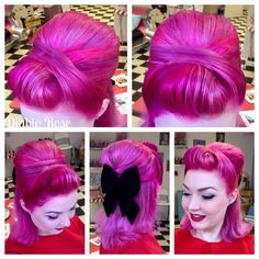 Vintage Hairstyles Updo Diablo Rose rocking bright pink hair and a big black bow! I love her cute rockabilly, pinup, retro style! My Hairstyle, Retro Hairstyles, Pin Up Hairstyles, Wedding Hairstyles, Mode Pin Up, Bright Pink Hair, Hot Pink Hair, Crazy Hair, Hair Dos