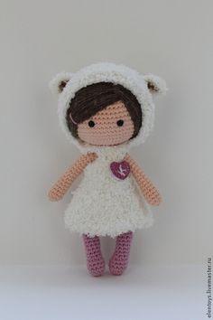 Куколка в костюме овечки - белый,куколка в кармашек,куколка вязаная,овечка