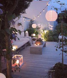 Terrasse, Lichterkette, Dekoration, gemütlich, laue Sommernächte, outdoor