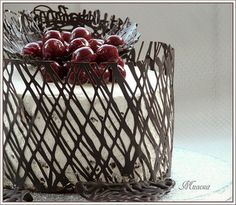 Chocolate drizzled on acetate then curved into the size of the finished cake to set in the freezer. I miss chocolate work :( I Love Chocolate, Chocolate Lovers, Chocolate Recipes, Chocolate Lace Cake, Chocolate Cake Toppers, Chocolate Garnishes, Chocolate Brown, Pretty Cakes, Beautiful Cakes