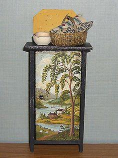 Dollhouse Miniature Hand Painted Folk Art Prim Country Pantry Cupboard Lassige