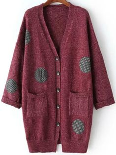 Red Polka Dot Burgundy Buttons Pockets V Neck Loose Long Cardigan Fall Long Red Cardigan, Burgundy Cardigan, Short Sleeve Cardigan, V Neck Cardigan, Sweater Cardigan, Long Sleeve Tops, Fall Sweaters, Sweater Coats, Polka Dots