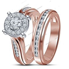 1.35 Ct D/VVS1 Diamond Engagement Wedding Bridal Ring Set In 14K Rose Gold Over #giftjewelry22