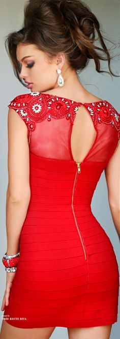 Red bandage dress with sheer and beaded accents...Sherri Hill Fall 2014 ♔ Tres Haute Diva