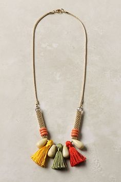 """""""Passementerie"""" tassel Necklace from Anthropologie. You may hate it but I would wear it! Tassel Jewelry, Textile Jewelry, Fabric Jewelry, Beaded Jewelry, Jewelry Necklaces, Handmade Jewelry, Jewellery, Fabric Necklace, Diy Necklace"""
