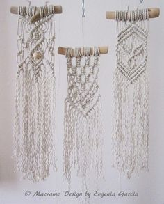 "Macrame wall hanging mini - Driftwood collection/Pattern #2 - stylish wall decor for your home or office. Handmade, original idea and design by Evgenia Garcia.  Color: natural  Sizes: Driftwood width – 4.75 (12 cm) Panel height from top of driftwood to longest end of fringe – 16"" (41 cm) Cord diameter 3 mm  NOTE:  1. The colors on your display may differ slightly from actual colors. 2. Clean the dust with a soft brush gently.  You can see other items from the Driftwood Collection: Patter..."
