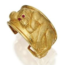 18 karat gold and ruby Cuff Bracelet, David Webb.