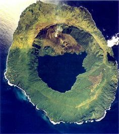arial volcanic images | Aerial view of Tofua and caldera freshwater lake