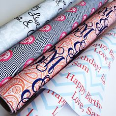 Custom monogrammed gift wrap! Oh my.....a southern girl's dream!