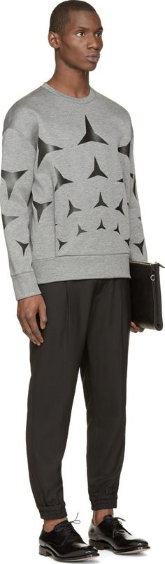 Neil Barrett Grey Neoprene Star Sweatshirt