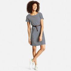 Women's Jacquard Short Sleeve Dress - navy/off-white stripe