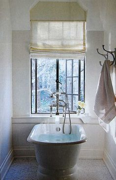 PERFECT tub placement...quiet, bright spot for a relaxing bath.