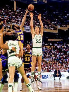 Bird Arcs It Over Worthy, '87 Finals.
