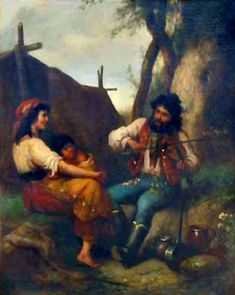 A Gypsy family at a tent. Paintings about Gypsy violinists