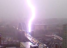 UK Flooding: Tyne and Wear, Newcastle: Lightening stikes the Tyne bridge