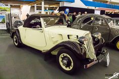 #Citroën #Traction #Cabriolet au salon Auto Moto Retro Dijon. Reportage complet : http://newsdanciennes.com/2016/03/19/grand-format-a-lauto-moto-retro-dijon/ #ClassicCar #Voiture #Ancienne #Vintage