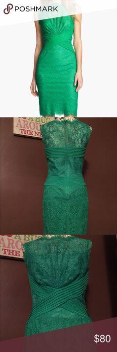 ⬇️LOWER PRICE AND DISCOUNT SHIP TODAY! Shoji👗 Lace lined beautiful green dress size 8 Tadashi Shoji Dresses Midi