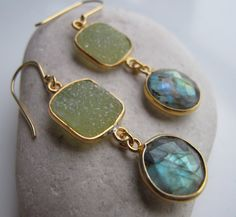 Mix Gemstone Earring featuring Green Druzy and Labradorite with Green Flash handmade by Belesas