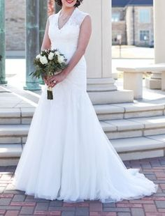 Melissa Sweet Cap Sleeve Trumpet Lace Gown Style #ms251005 Davids Bridal Wedding Dress $549