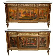Pair of Louis XVI Style Monumental Compatible French Chinoiserie Commode Chests | From a unique collection of antique and modern commodes and chests of drawers at https://www.1stdibs.com/furniture/storage-case-pieces/commodes-chests-of-drawers/