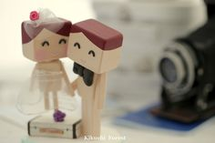 bride and groom wedding cake topper with luggage ,Handmade,Handcrafted wood dolls