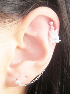 Sterling Silver Single Owl Cartilage Double by SimplicityCharms