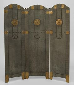 """Vienna Secession Three-Panel Fire Screen. Tole-Painted Sheet Steel with Brass Accent Panels. Vienna, Austria. Circa 1900. 43"""" x 37-1/2""""."""