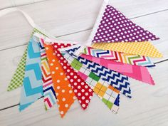 Party Decoration, Birthday Decoration, Colorful, Bunting, Fabric Banner, Flags, Photo Prop - Rainbow Chevron, Dots, Gingham, Pink, Blue, Red
