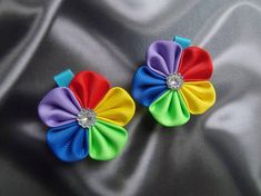 Rainbow hair barrettes girls barrettes kanzashi hair clip babies hair accessories japanese baby flower hair clip kanzashi hair pieces Kanzashi hair clip Rainbow fabric Kanzashi hair flower clips Rainbow hair clip Rainbow fabric flowers kanzashi hair clips in the technique of