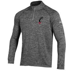 Men's Under Armour Heather Gray Cincinnati Bearcats 1/4 Zip Long Sleeve Tech T-Shirt