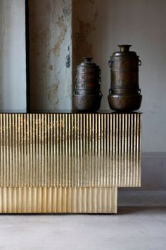 Semi-industrial brass desk.