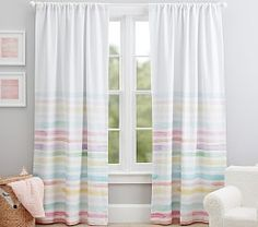 Kayla Rainbow Stripe Blackout Curtain – Hobbies paining body for kids and adult Kids Blackout Curtains, Blackout Panels, Panel Curtains, Rainbow Curtains, Rainbow Bedroom, Rainbow Room Kids, Pottery Barn Kids, Girls Room Curtains, Playroom Curtains