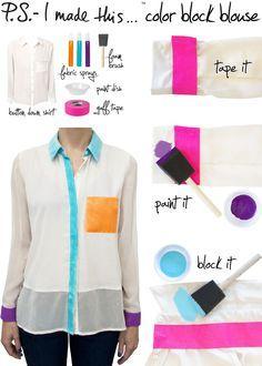 DIY Clothes Color block shirt