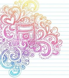 Music Note Sketchy Back to School Doodles with Swirls, Hearts, and Stars Notebook Doodle Vector Illustration Design Elements on Lined Sketchbook Paper Background