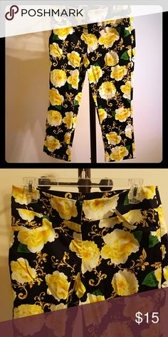 Floral Crop Pants Floral navy blue and yellow crop pants New York & Company Pants Ankle & Cropped