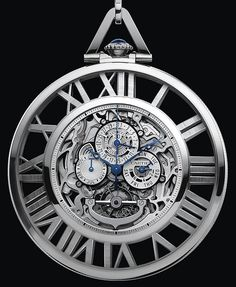 Wow, Cartier's Skeleton Pocket Watch (only 10 obsidian pieces, and 5 diamond-set pieces coming soon) in white gold with rock crystal stand.