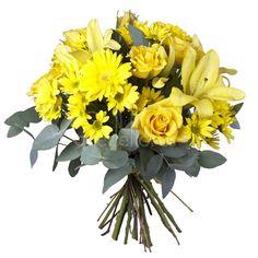 Ramo QDF de flores variadas amarillas, un trocito de jardín hecho ramo de flores. #oferta #regalaflores