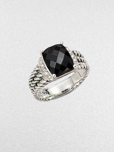 LOVE THIS - David Yurman - Diamond Accented Black Onyx Ring - Saks.com $461