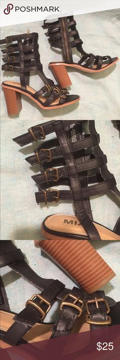 MIA Athens Buckle Heels Athens style by MIA zipper up the side with adjustable buckles Mia Shoes Heels