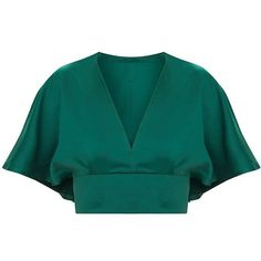 Emerald Green Satin Flare Sleeve Plunge Crop Top (€23) ❤ liked on Polyvore featuring tops, blue top, emerald green tops, satin crop tops, plunge crop top and bell sleeve tops
