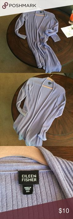 Eileen Fisher. Long open cardigan. Eileen Fisher. Long open cardigan.  Beautiful light purple/lilac color.  Size Xs but will definitely fit a small and I'm a medium and can wear it. Excellent condition. Sweaters Cardigans