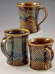Handmade pottery mugs by Anne Lewis. Coffee mug cup. Functional Pottery.