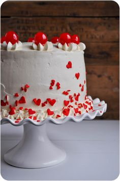 Cherry Almond Sour Cream Cake--I like the decorations here
