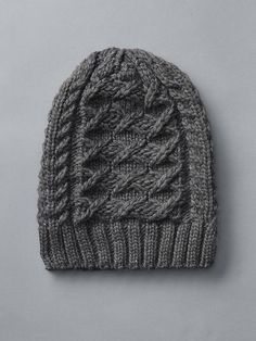 Gap, Honeycomb cable knit beanie, Charcoal grey