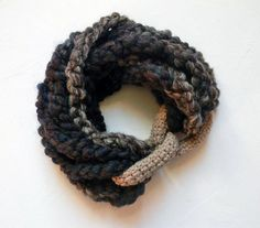 Wool neckwarmer multistrand cowl. Brown and beige. by ylleanna, €48.00